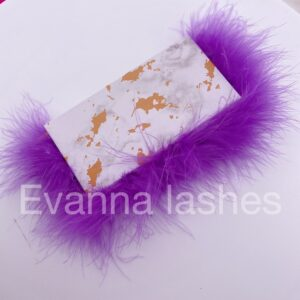 wholesale custom eyelash packaging box with purple feather