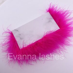 custom eyelash packaging with hot pink  feather