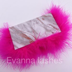 create your own eyelash packaging box with hot pink  feather