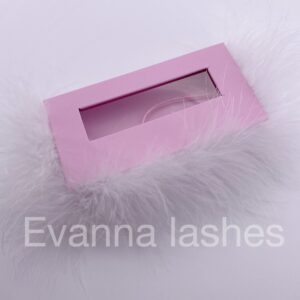 custom eyelash box packaging pink package with white  feather