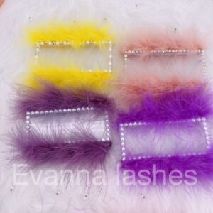 custom lash cases with colorful feather and diamond