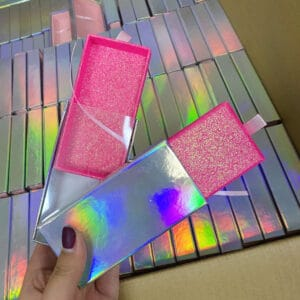 Pull box wholesale custom eyelash packaging box with baby pink glitter